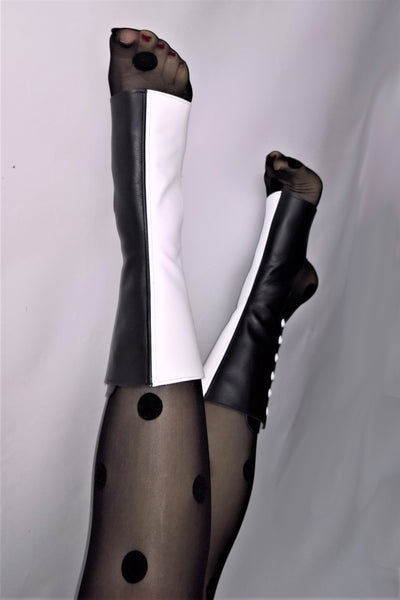 2-tone Black & White Short Aerial boots