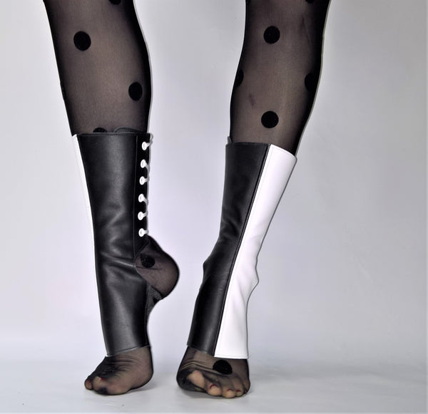 SAMPLE SALE - 2-Tone Aerial Boots in Black & White