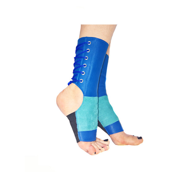 SHORT Aerial boots in Blue leather & Turquoise Suede