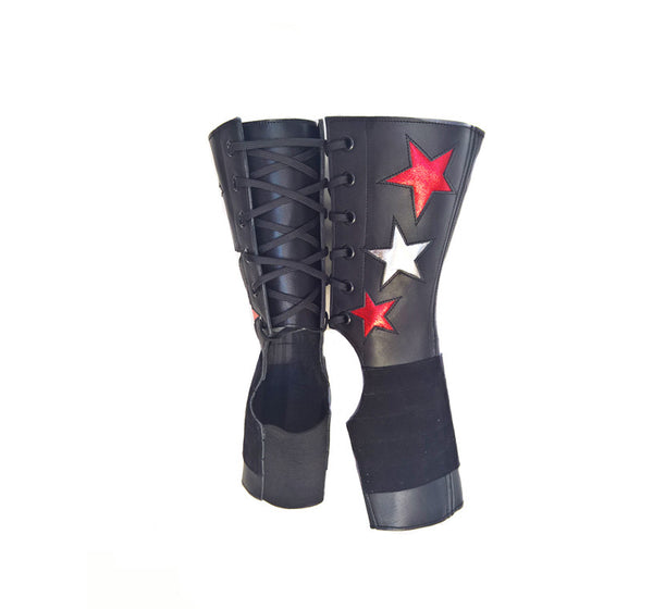 SHORT Black Aerial boots w/ metallic Red & Silver Stars