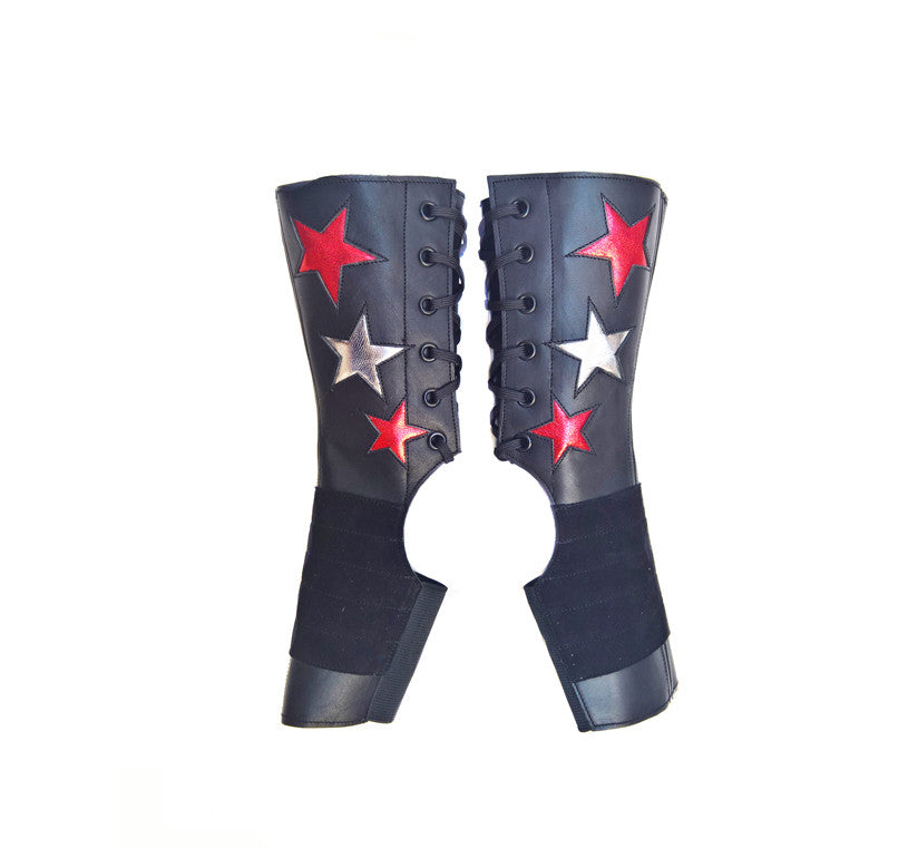 SHORT Stardust Aerial boots w/ Silver & Red Stars