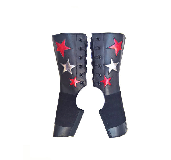 SHORT Stardust Aerial boots w/ Silver & Red Stars + Grip Panel