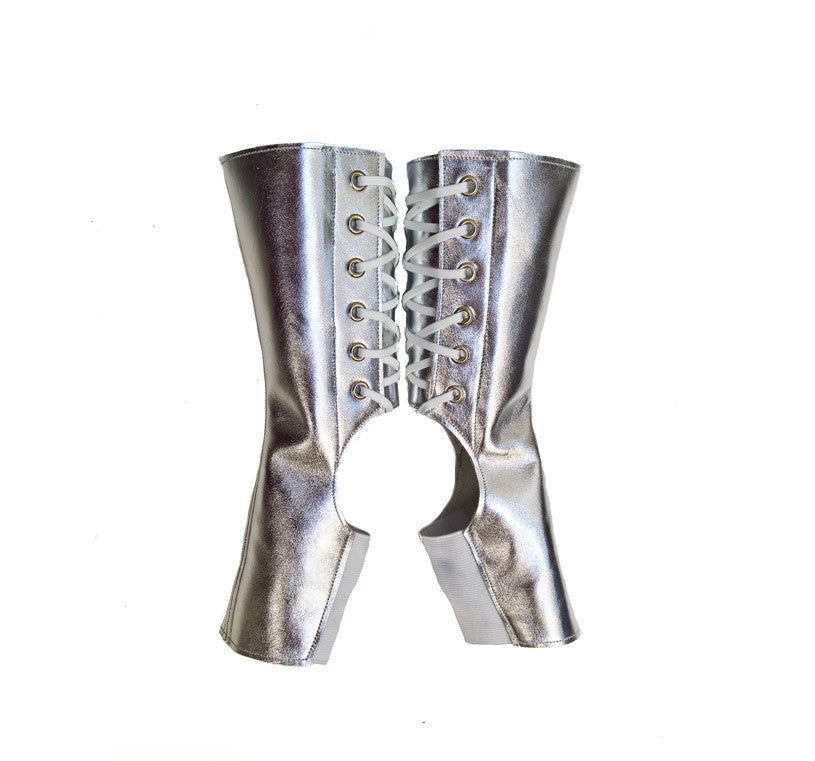 657d13fb8 SILVER metallic Short Aerial Trapeze gaiters and Pole Dance boots – Isabella  Mars
