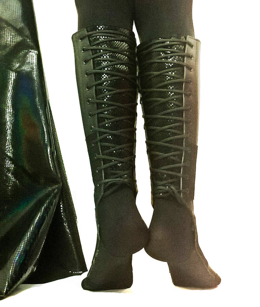 Black Aerial boots w/ Reflective Snake Print Back + Suede Grip