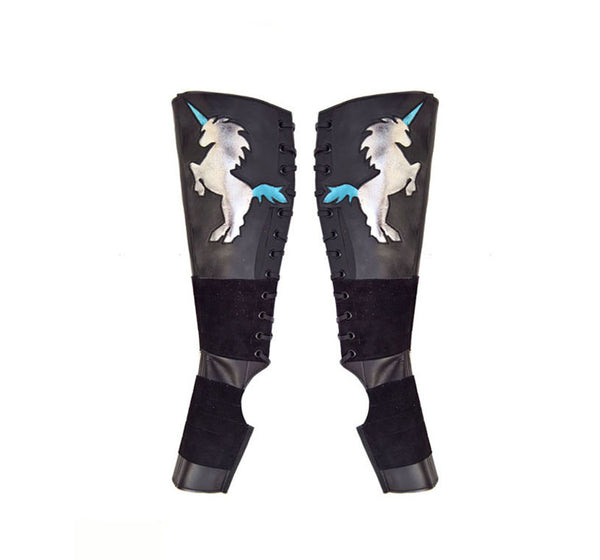 Black Aerial boots w/ Silver & Blue metallic UNICORNS + Suede Grip