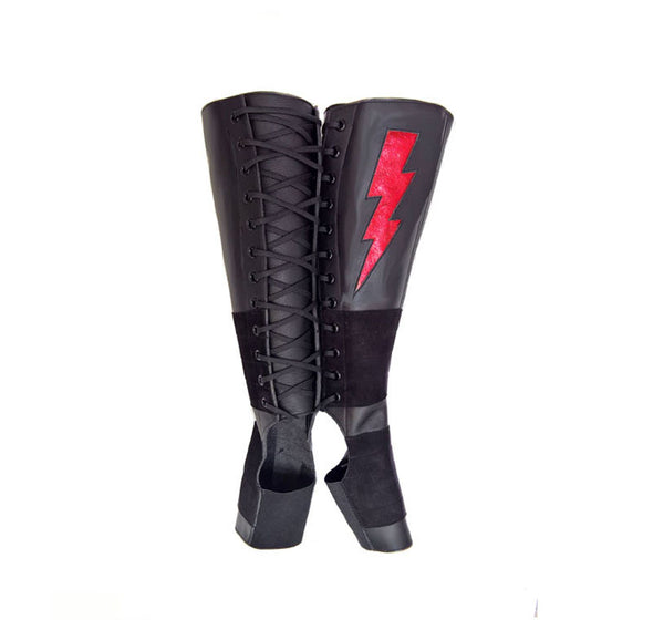 Black Aerial boots w/ Red metallic ZIGGY Bolt + Suede Grip