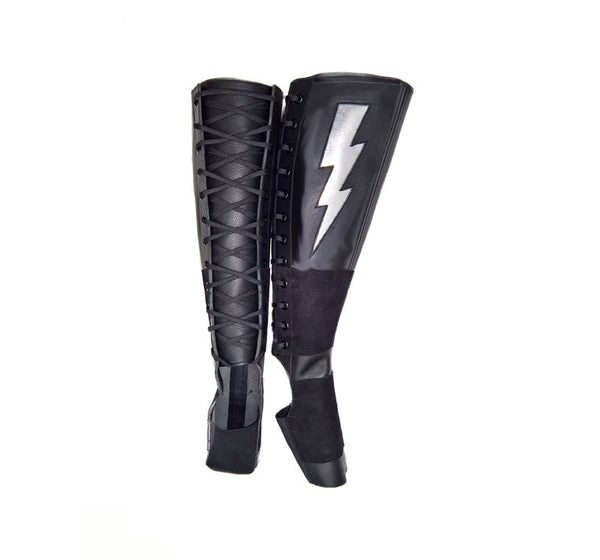 Black Aerial boots w/ Silver metallic ZIGGY Bolt + Suede Grip