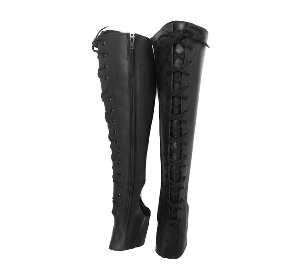 Black Aerial boots w/ FRONT Lacing & Side ZIP
