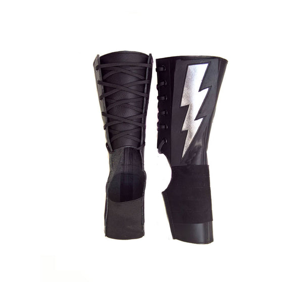 Short Black Aerial boots w/ Silver metallic ZIGGY Bolt + Suede Grip