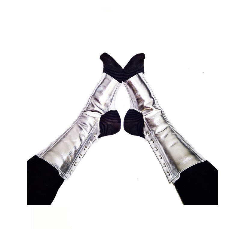 SILVER metallic SHORT Aerial boots & Pole dance gaiters