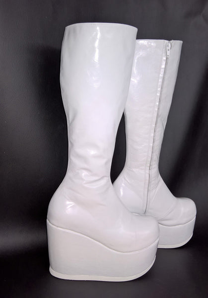 White Platform Wedge Knee Boots
