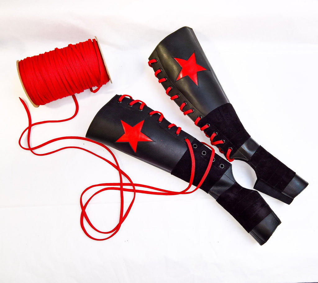 Black Aerial boots w/ RED STAR + Suede Grip