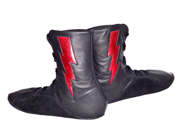 "SAMPLE SALE - Black Tightrope Boots w/ Red ""ZIGGY"" Bolt UK 8.5 / US 10"