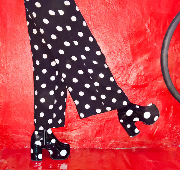 Cartoon Polkadot Platform Ankle Boots