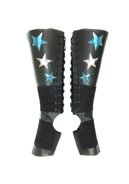 Stardust Aerial boots w/ Silver & LIMITED EDITION Blue Metallic Stars + Grip Panels