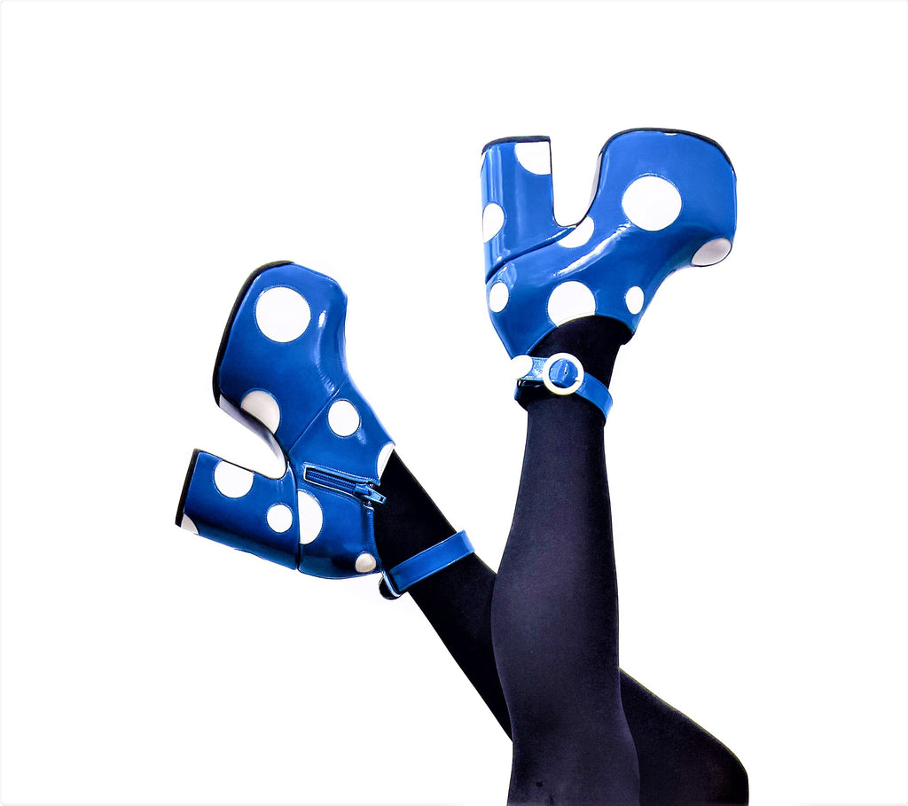 Cartoon Polkadot Platform Shoes - Blue & White Patent