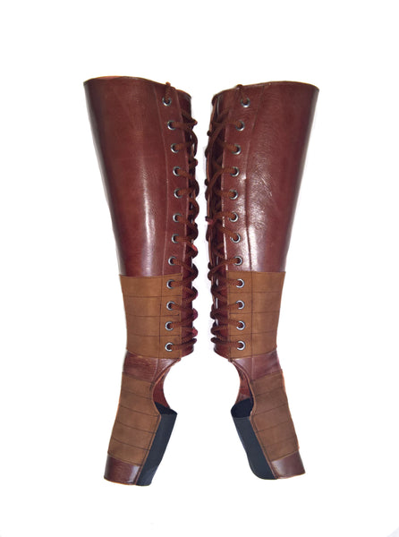 BROWN Leather Aerial boots w/ Suede Grip