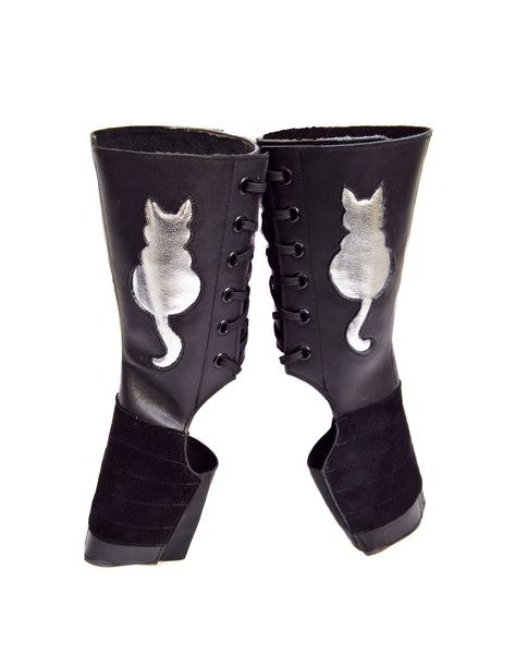 """Kitty"" Short Black Aerial boots w/ Silver metallic Cat"