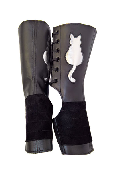 """Kitty"" SHORT Black Aerial boots w/ metallic Cat + Grip Panel"