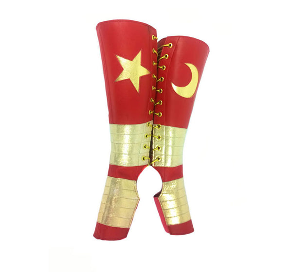 Red Aerial boots w/ Gold Metallic STAR & MOON and Gold panels