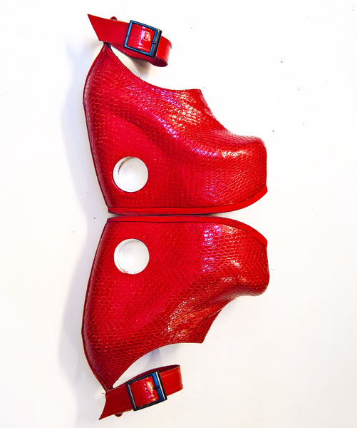 PEEPHOLE Platform Shoes - Red Patent Leather & Perspex hole