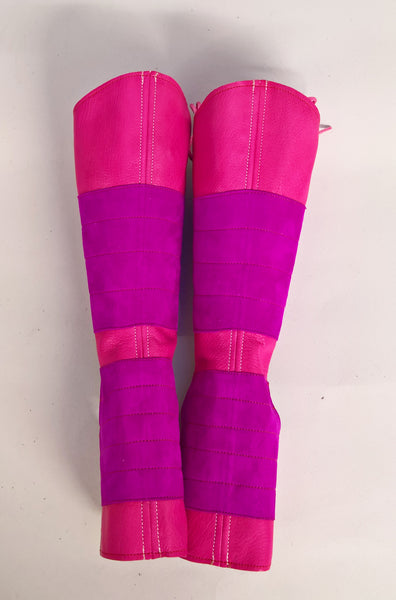 ONE-OFF Fuchsia Pink Aerial Boots w/ suede grips