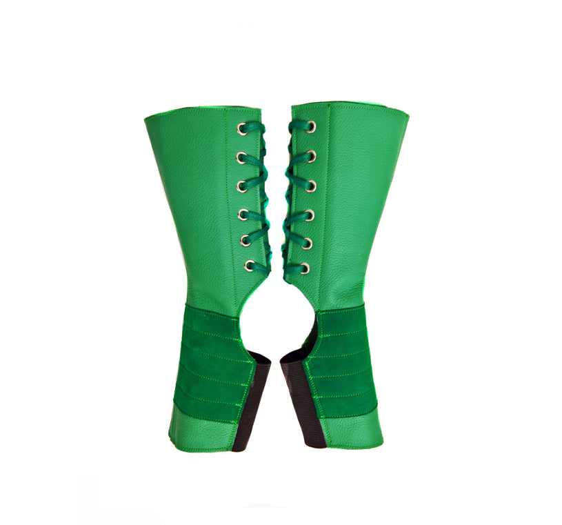 SHORT Aerial boots in JADE GREEN leather