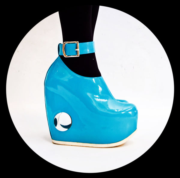 PEEPHOLE Platform Shoes - Blue Patent Leather & Perspex hole