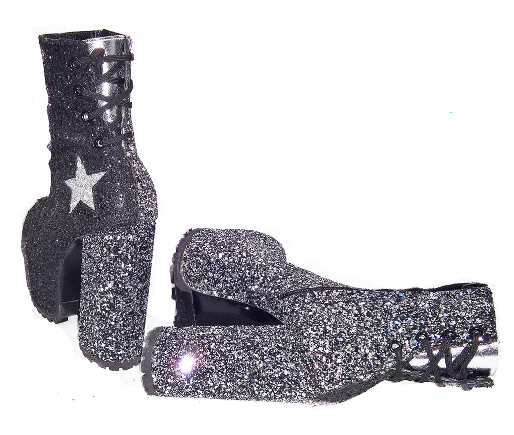 Leather STARDUST Platform Ankle Boots