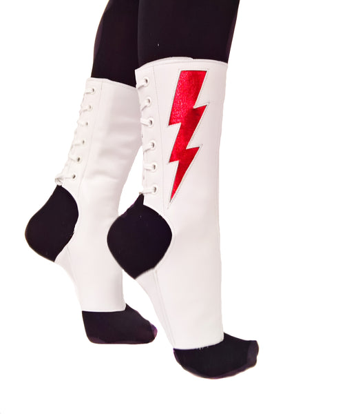 """Mini Ziggy"" Short White Aerial boots w/ Red metallic Lightning Bolt"