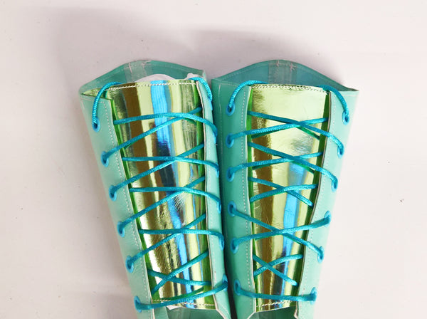 ONE-OFF Mint Green Aerial Boots w/ LIMITED EDITION mirror metallic back