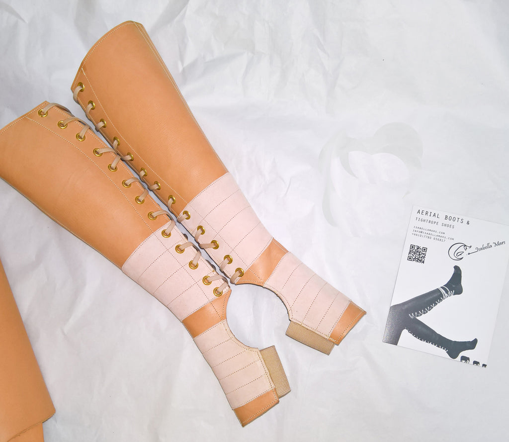 Nude Leather Aerial Boots W Suede Grip  Isabella Mars-1668