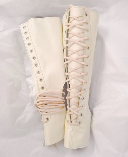 Front Lacing Pearl Cream Aerial Boots
