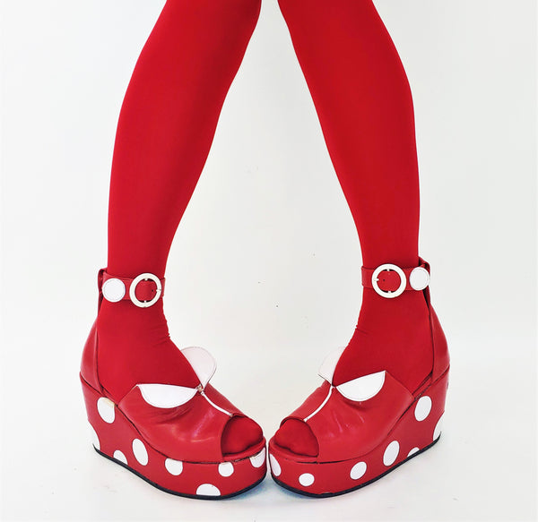 Cartoon Polkadot Platform Sandals