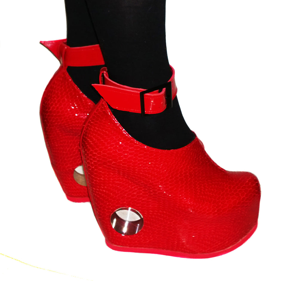 Red Patent Leather \u0026 Perspex hole