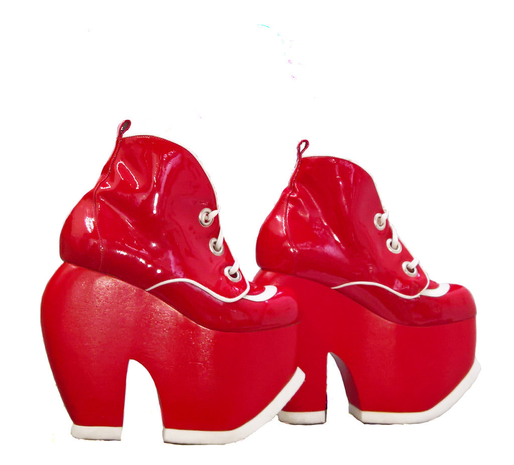 b8bb1c37fc9 Bumper Platform Shoes Boots Red   White Patent Leather handmade – Isabella  Mars