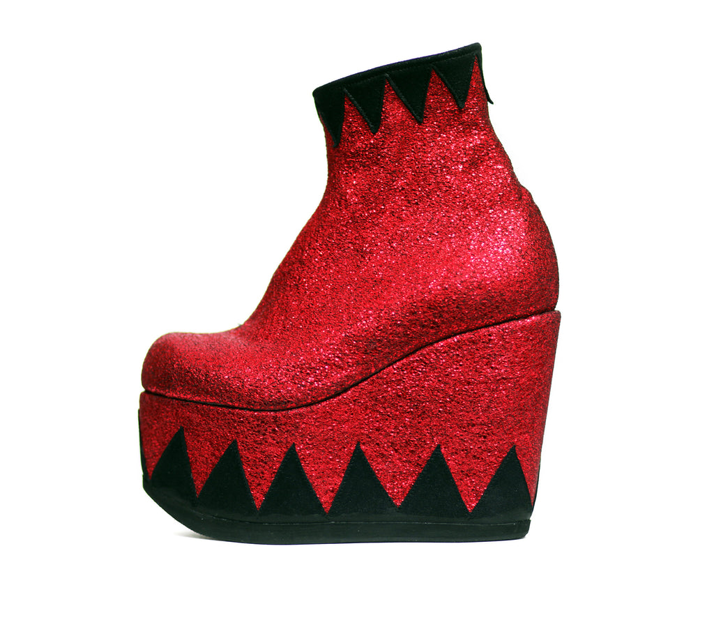 4243497499e2 RINGMASTER Ankle Boots in Black and Red Metallic Leather Platforms ...