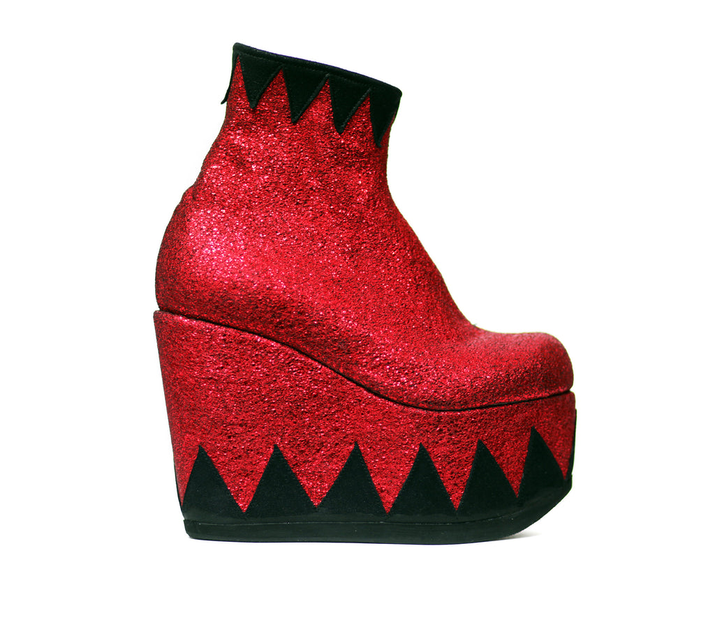 Ringmaster Circus Red Black Metallic Ankle Boots Platform Wedges