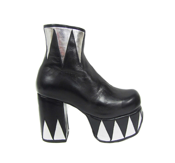 Ringmaster Platform Ankle Boots in Black with Silver Circus Triangle Details in Vegan or Genuine Leather Side View