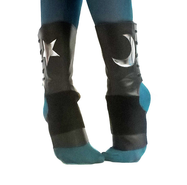 SHORT Black Aerial boots w/ Silver metallic MOON & STAR + Suede Grip