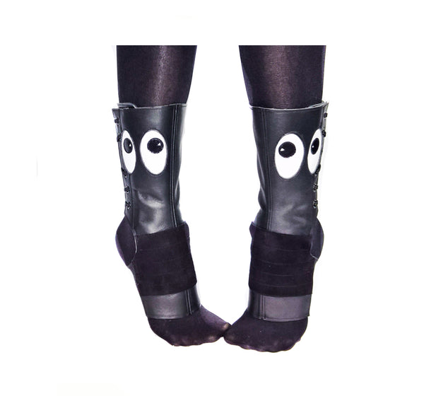 """Peekaboo"" Short Black Aerial boots w/ eyes"