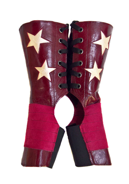 SHORT Burgundy Stardust Aerial boots w/ Gold Stars + Grip Panel