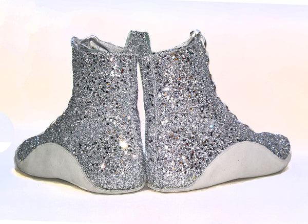 SAMPLE SALE - Silver Glitter Tightrope Boots UK 5 /US 7.5