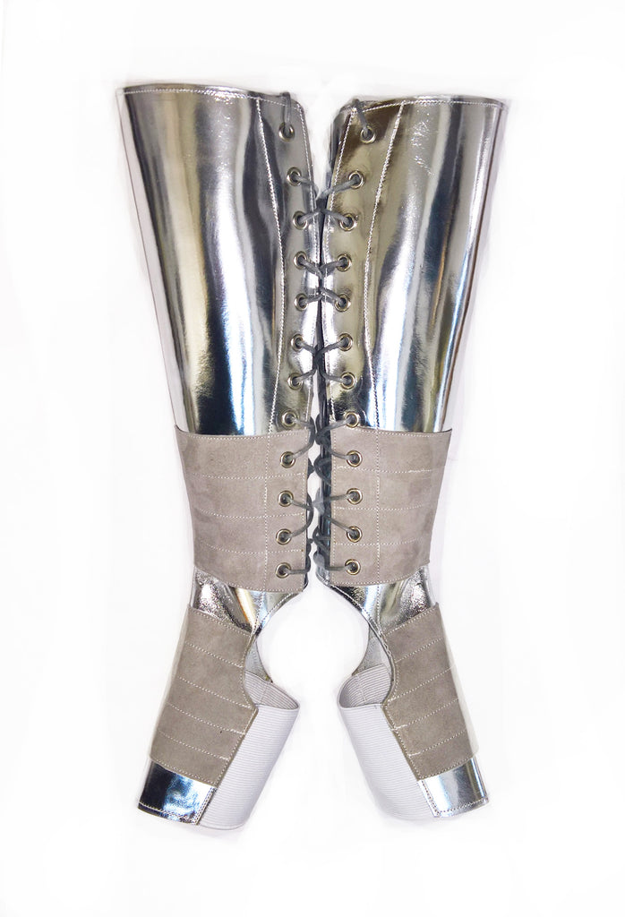 "SILVER ""Mirror Metallic"" Leather Aerial boots w/ Suede Grip"