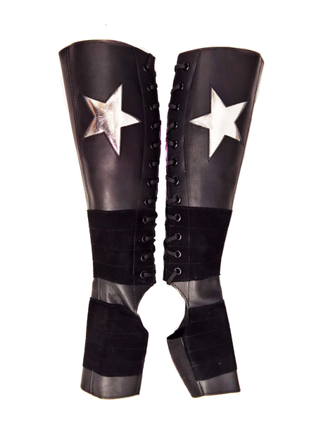 Full length Black Aerial Boots w/ SILVER metallic Stars