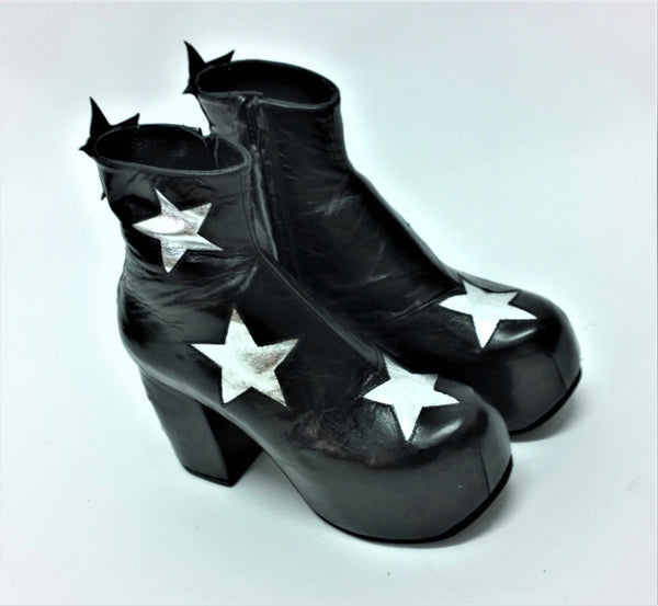 STARDUST Platform Ankle Boots - Black with Silver Stars