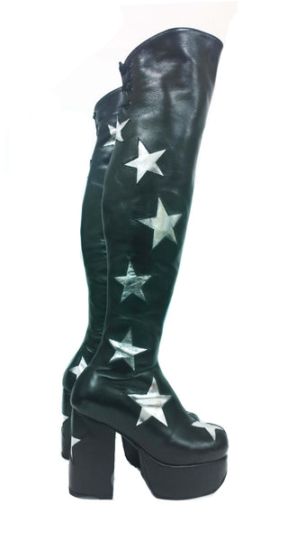Stardust Overknee Black Long Platform Leather Circus Boots Silver Stars 70's