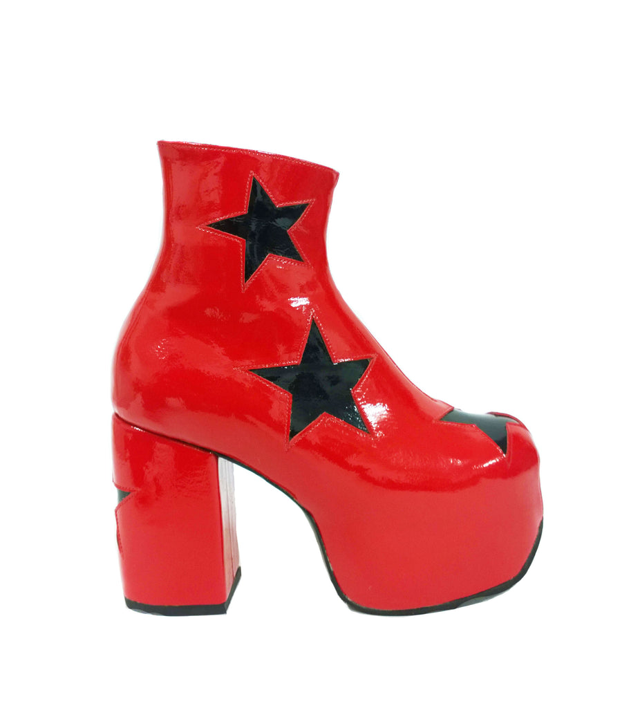 f8faee9017f STARDUST Platform Ankle Boots - Red Patent Leather with Black Stars ...