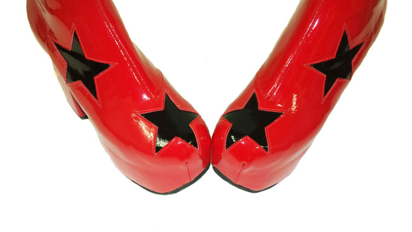 Red Patent Leather Platform Circus 70's Boots with Black Stars