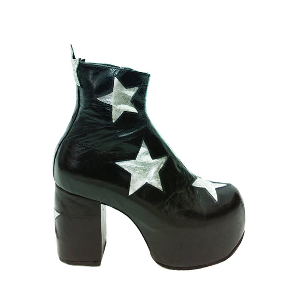 Vegan or Leather STARDUST Platform Ankle Boots - Black with Silver Stars